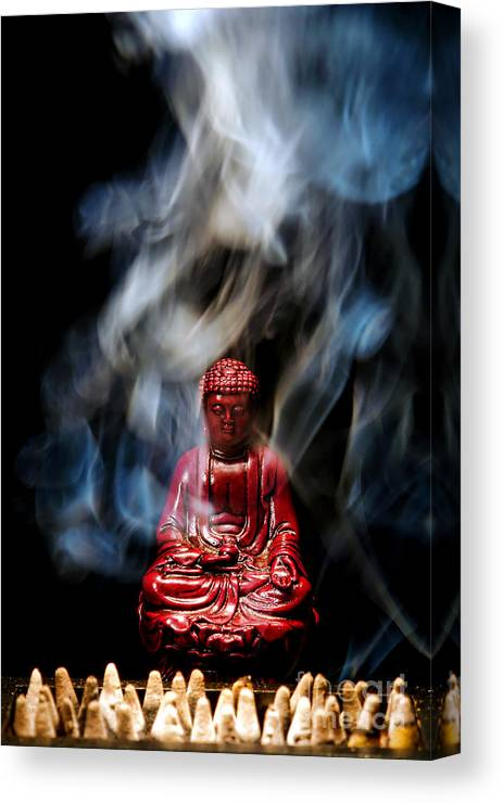 Buddha Canvas Print featuring the photograph Buddha In Smoke by Olivier Le Queinec