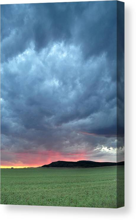 Montana Canvas Print featuring the photograph Burning Sunset by Jeff Krogstad