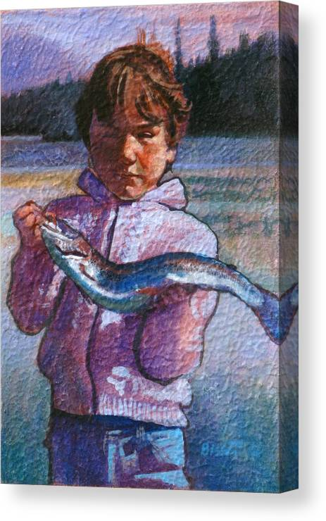Boy Canvas Print featuring the painting Catch Of The Day by Robert Bissett
