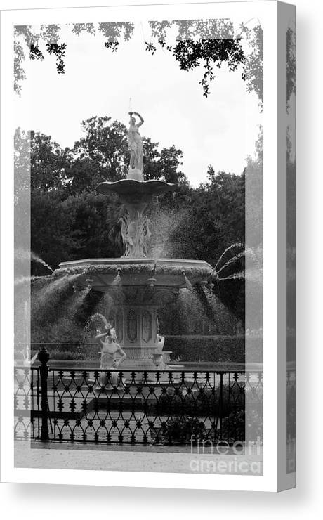 Forsyth Park Canvas Print featuring the photograph Forsyth Park Fountain - Black And White by Carol Groenen