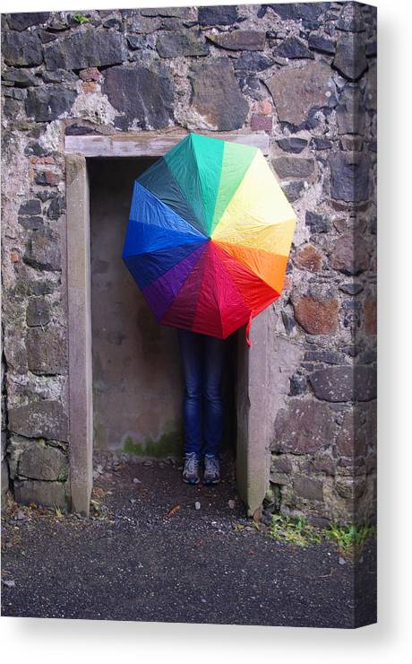Girl Canvas Print featuring the photograph Girl With The Rainbow Umbrella At Mussendun Hall by Merrill Miller