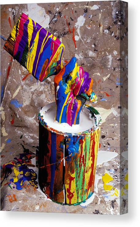 Hand Coming Out Of Paint Bucket Canvas Print