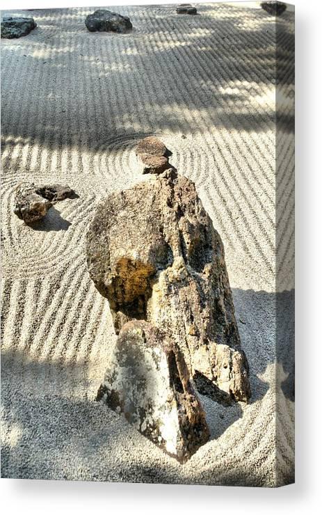 Photography Canvas Print featuring the photograph Karesansui - Dry Landscape Garden by Lynnette Johns