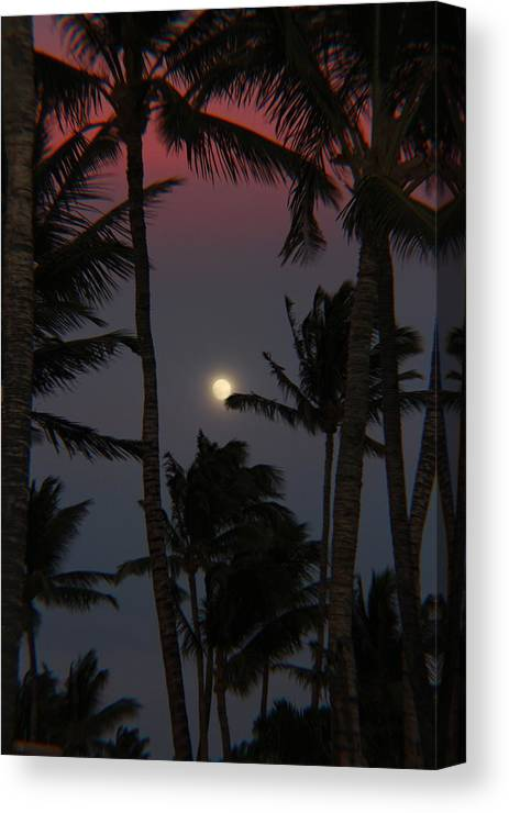 Full Moon Canvas Print featuring the photograph Moon Over Hawaii by Raquel Amaral