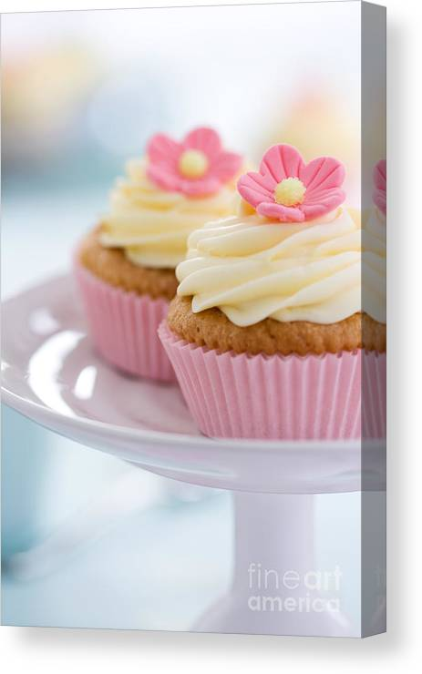Cupcake Canvas Print Featuring The Photograph Pink Flower Cupcakes By Ruth Black