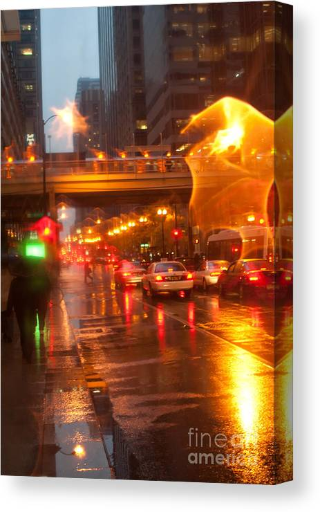 Chicago Canvas Print featuring the photograph Rain In Chicago by Christopher Purcell