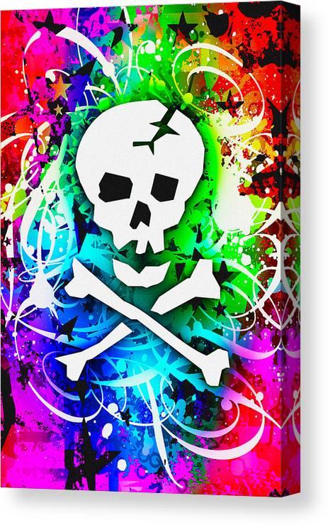 Rainbow Canvas Print featuring the digital art Rainbow Skull 3 Of 6 by Roseanne Jones