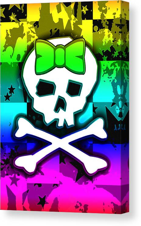 Rainbow Canvas Print featuring the digital art Rainbow Skull 4 Of 6 by Roseanne Jones