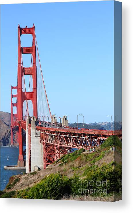 San Francisco Canvas Print featuring the photograph San Francisco Golden Gate Bridge . 7d8157 by Wingsdomain Art and Photography