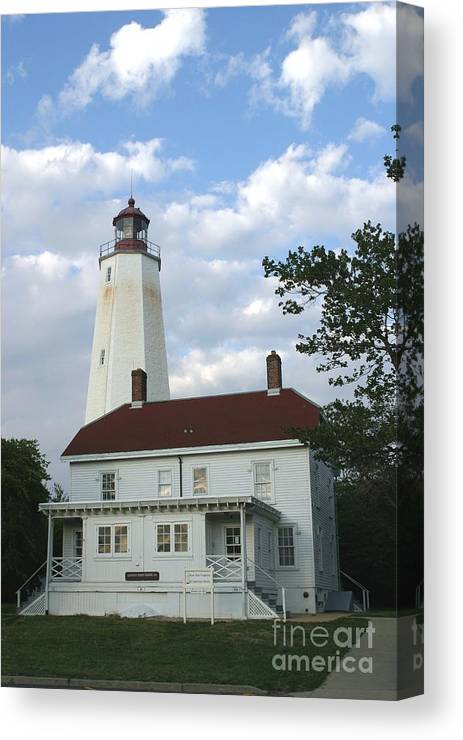 Sandy Hook Canvas Print featuring the photograph Sandy Hook Lighthouse And Building by Living Color Photography Lorraine Lynch