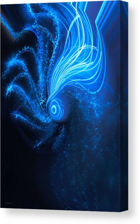 Sea At Night Canvas Print featuring the digital art Sea At Night by Linda Sannuti