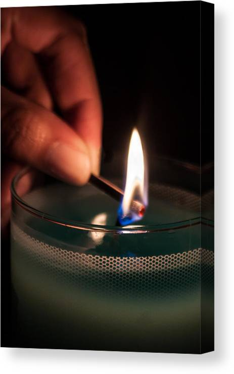 Fire Canvas Print featuring the photograph Sharing The Flame by James Woody