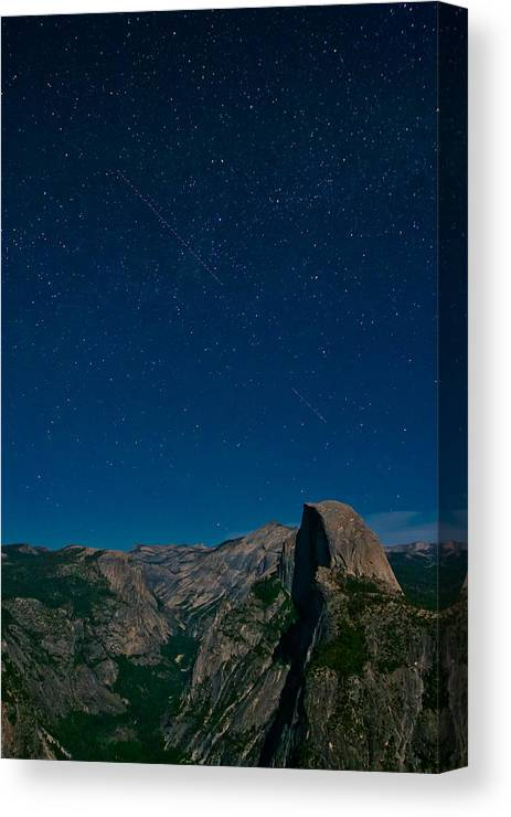 Stars Canvas Print featuring the photograph Stars Over Half Dome by Adam Pender