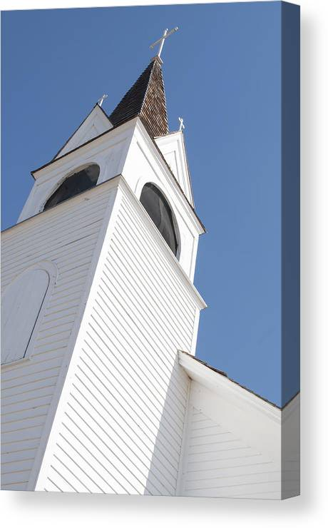 Steeple Canvas Print featuring the photograph Steeple On St. Joseph's Catholic Mission Church by Fran Riley