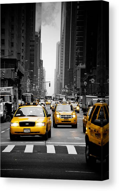 New York Canvas Print featuring the photograph Taxis On 6th Avenue by Heidi Reyher