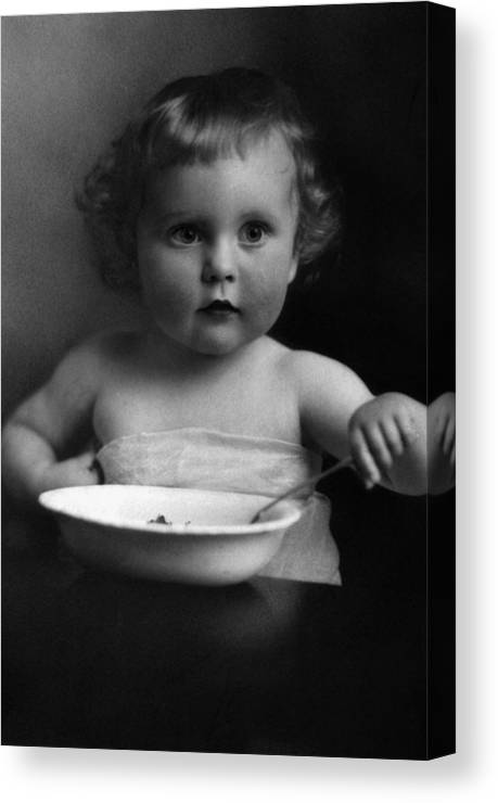 Baby Canvas Print featuring the photograph Baby Eating Cereal 1910s Black White Archive Boy by Mark Goebel