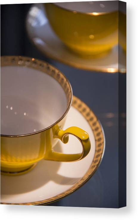 Yellow Tea Cups Canvas Print featuring the photograph Time For Tea by Gwendolyn Perez