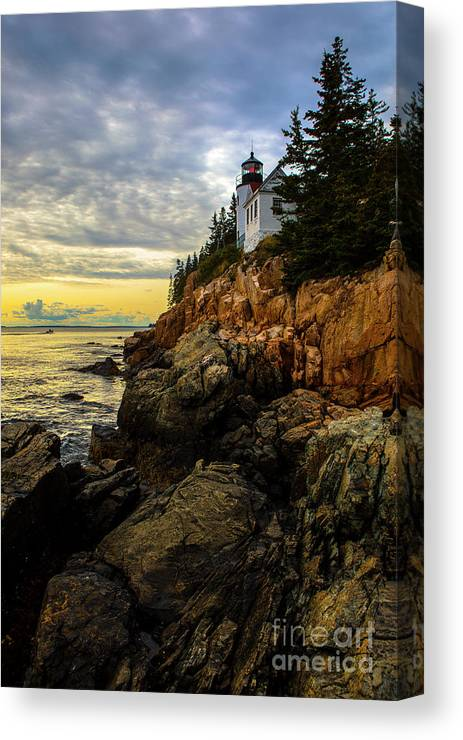 Lighthouse Canvas Print featuring the photograph Bass Harbor Lighthouse by Diane Diederich