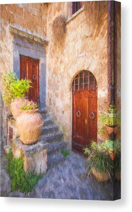 Bagnoregio Canvas Print featuring the photograph Courtyard Of Tuscany by David Letts