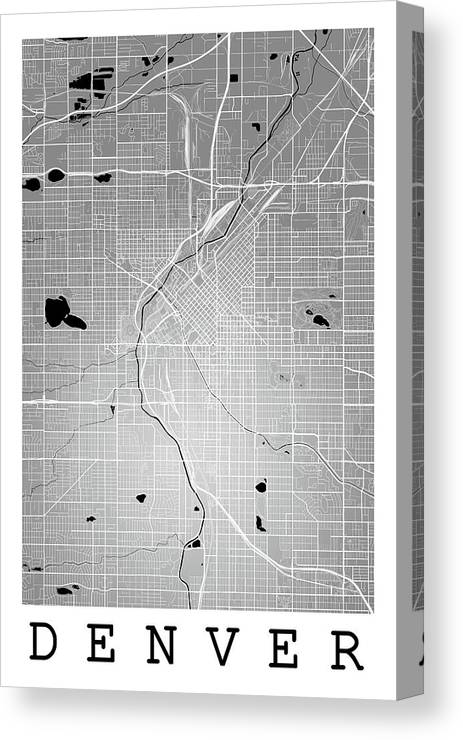 Denver Street Map - Denver Colorado Usa Road Map Art On Color Canvas ...