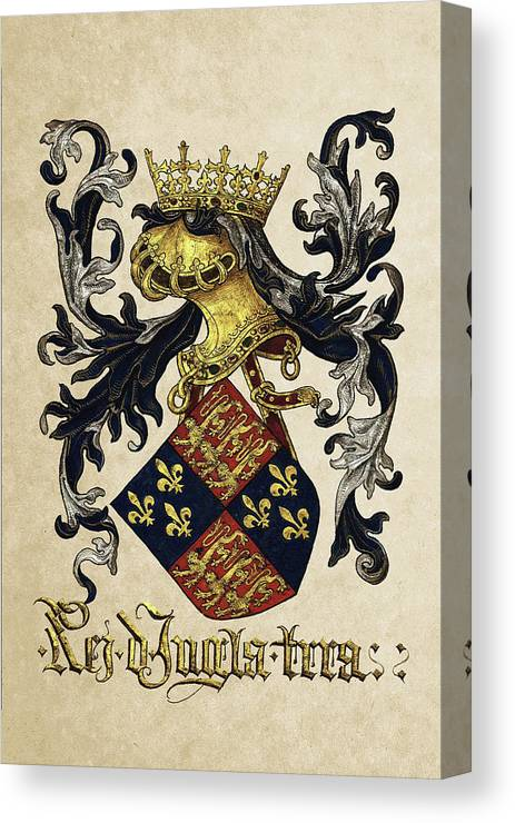 'roll Of Arms� Collection By Serge Averbukh Canvas Print featuring the photograph King Of England Coat Of Arms - Livro Do Armeiro-mor by Serge Averbukh