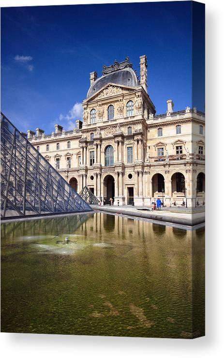 Louvre Canvas Print featuring the photograph Louvre Museum Architecture Paris by Pierre Leclerc Photography