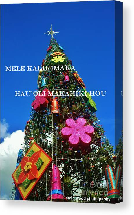 Hawaiian Merry Christmas.Merry Christmas Happy New Year Hawaiian Canvas Print