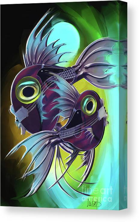 Pisces Canvas Print featuring the painting Pisces by Melanie D