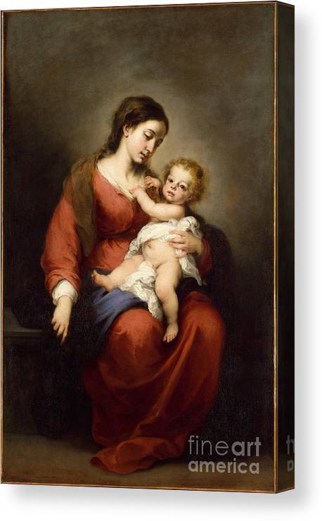 Virgin And Child Artist Bartolom� Esteb�n Murillo (spanish Canvas Print featuring the painting Virgin And Child by Celestial Images