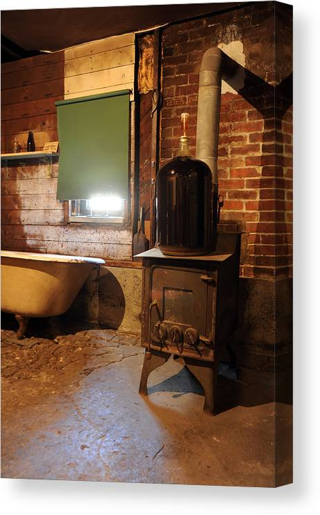 Wood Stove Canvas Print featuring the photograph West End Basement Brewing by Jason Evans