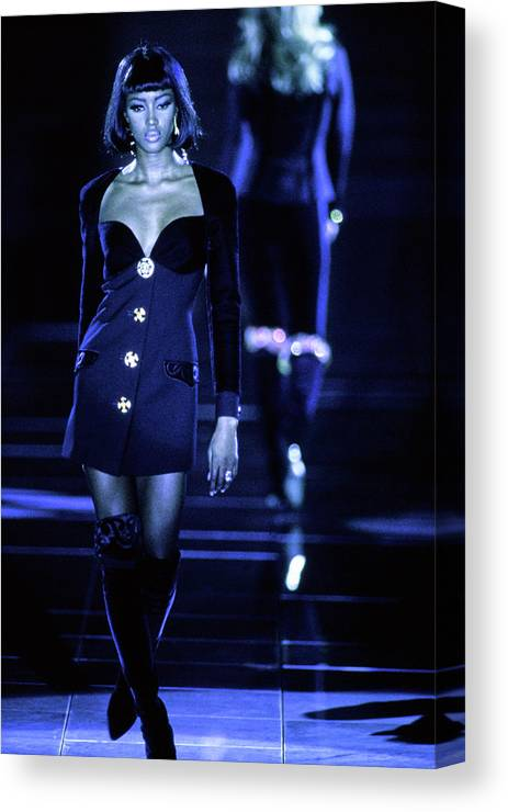 Fashion Canvas Print featuring the photograph Versace Fall 1991 Rtw Show by Guy Marineau