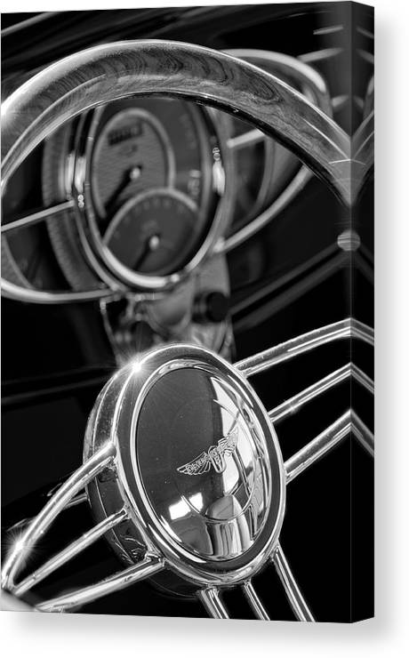 1932 Ford Canvas Print featuring the photograph 1932 Ford Hot Rod Steering Wheel 4 by Jill Reger