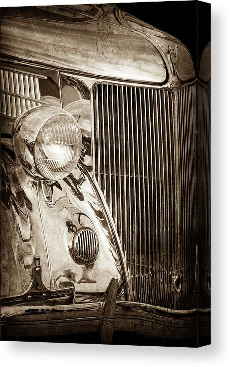 1936 Ford Stainless Steel Grille Canvas Print featuring the photograph 1936 Ford Stainless Steel Grille -0376s by Jill Reger