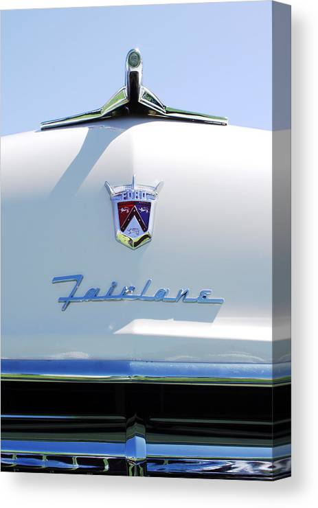 Car Canvas Print featuring the photograph 1955 Ford Fairland Hood Ornament by Jill Reger