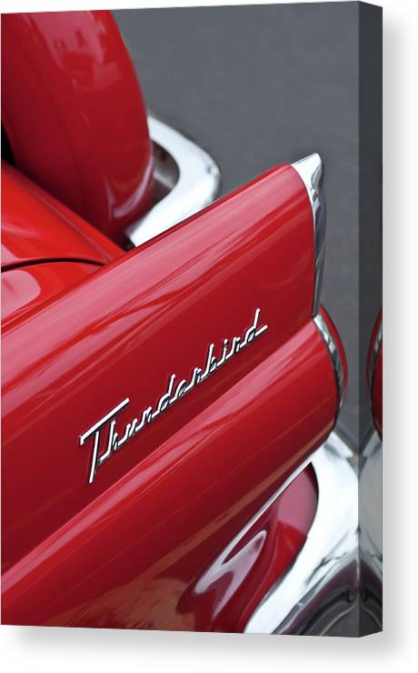 1956 Ford Thunderbird Canvas Print featuring the photograph 1956 Ford Thunderbird Taillight Emblem 2 by Jill Reger