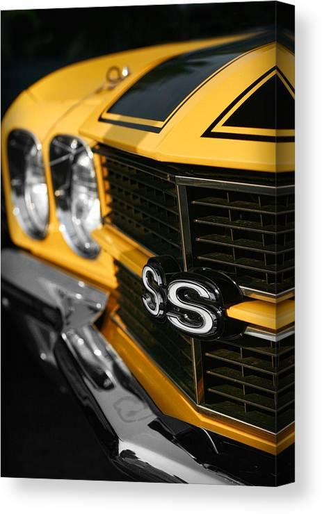 1970 Canvas Print featuring the digital art 1970 Chevelle Ss396 Ss 396 Yellow by Gordon Dean II