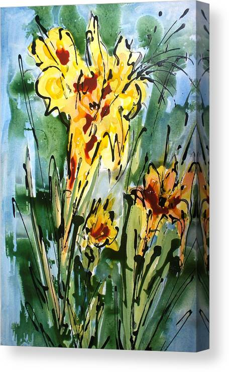 Flowers Canvas Print featuring the painting Heavenly Flowers by Baljit Chadha