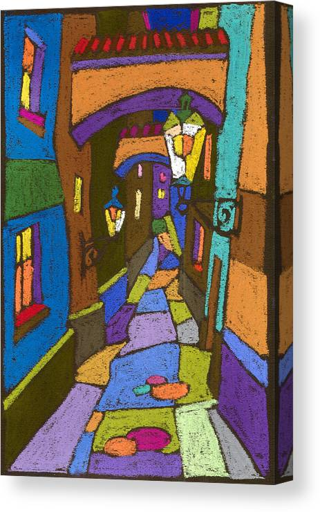 Pastel Canvas Print featuring the painting Prague Old Street by Yuriy Shevchuk