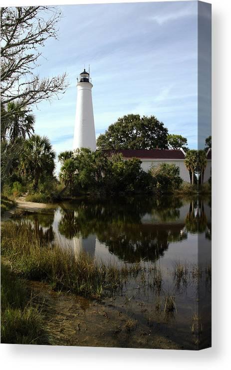 Color Photograph Canvas Print featuring the photograph St. Mark's Lighthouse by Wayne Denmark