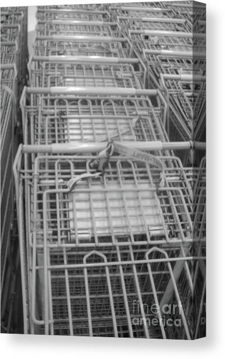 Grocery Cart Canvas Print featuring the photograph A Hunters Gatherer by WaLdEmAr BoRrErO