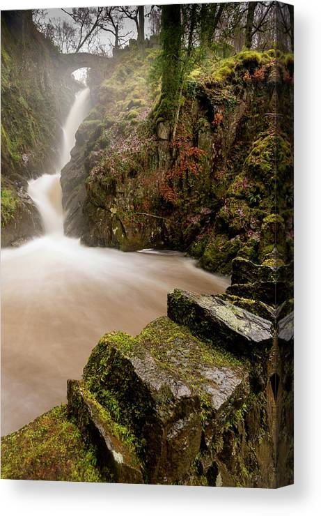 Aira Force Canvas Print featuring the photograph Aira Force High Water Level by Stephen Dewhurst