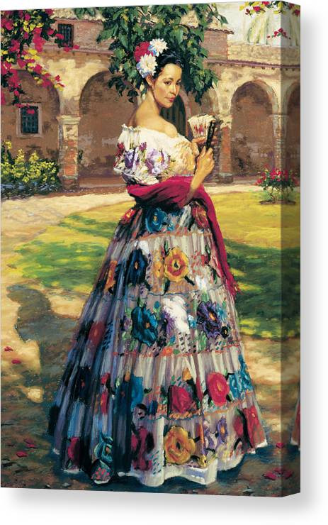 Woman Elaborately Embroidered Mexican Dress. Background Mission San Juan Capistrano. Canvas Print featuring the painting Al Aire Libre by Jean Hildebrant
