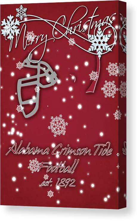 Alabama Christmas.Alabama Crimson Tide Christmas Card 2 Canvas Print
