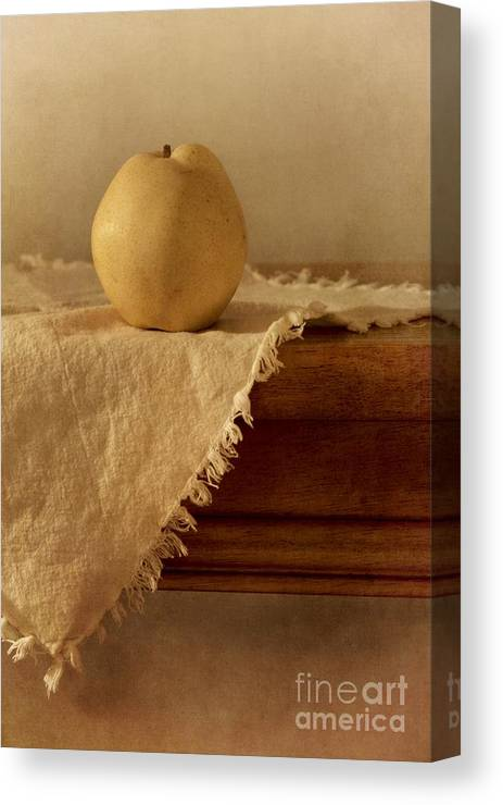 Dining Room Canvas Print featuring the photograph Apple Pear On A Table by Priska Wettstein