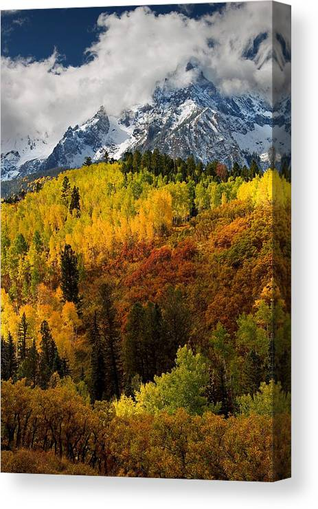 Landscape Canvas Print featuring the photograph Autumn Mountain by Peter Kunasz