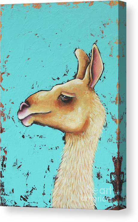 Llama Canvas Print featuring the painting Baby Llama by Lucia Stewart