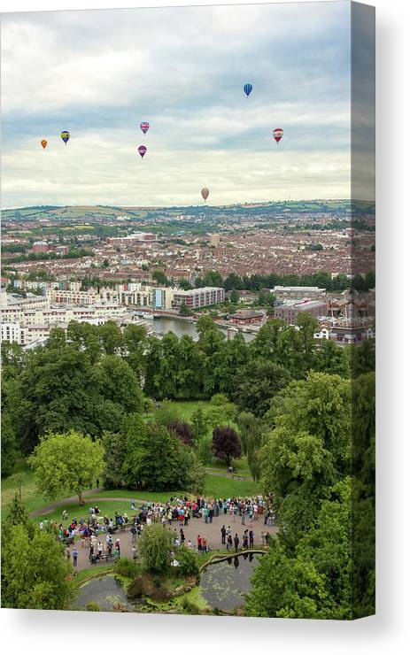 City Of Bristol Canvas Print featuring the photograph Balloons Over Bristol Uk by Paul Hennell