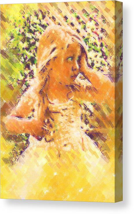 Child Canvas Print featuring the digital art Bashful by Holly Ethan