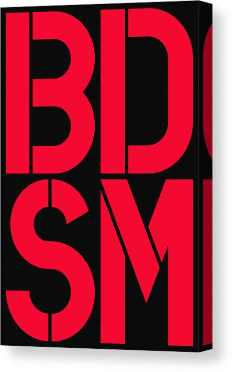 Four Canvas Print featuring the painting Bdsm Black And Red by Three Dots