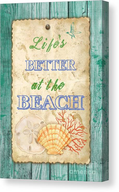 Digital Art Canvas Print featuring the painting Beach Notes-jp3761 by Jean Plout